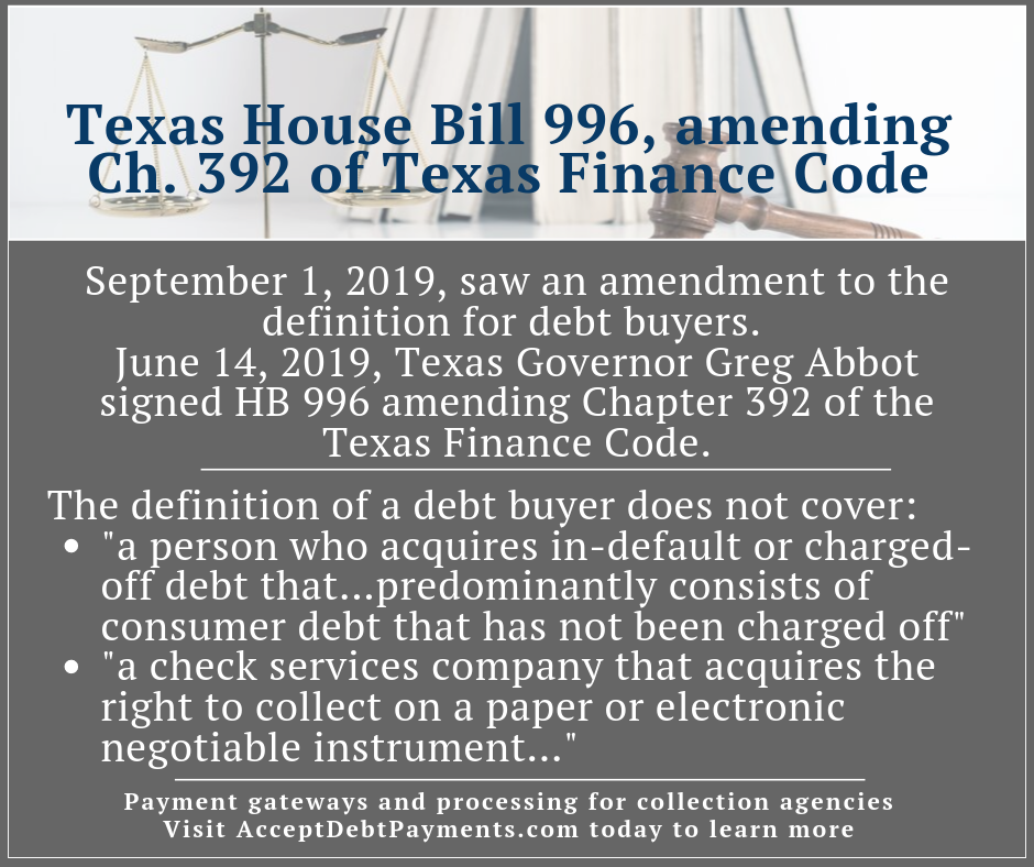 Debt buyers - Texas House Bill 996- Image